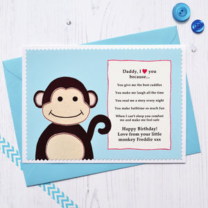 'Daddy / Grandad I Love You' Monkey Birthday Card - birthday cards