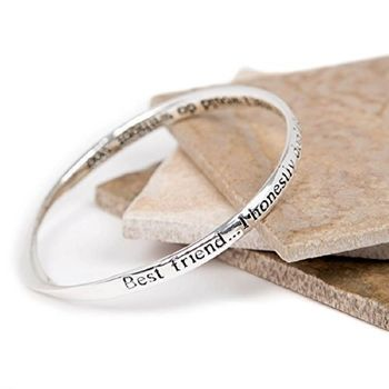 Silver Plated Best Friend Message Bangle