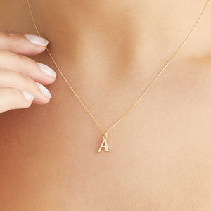 Small Gold Or Silver Initial Letter Charm Necklace