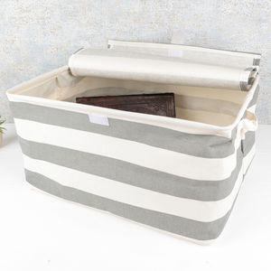 Nautical Striped Linen Basket With Lid - shop by price