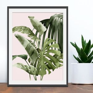 'Tropical Paradise' Painted Palm Leaves Print