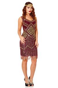 Edith Gatsby Inspired Flapper Embellished Dress - flapper dresses
