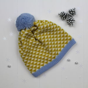 Triangle Knitted Pom Pom Hat In Piccalilli - women's accessories
