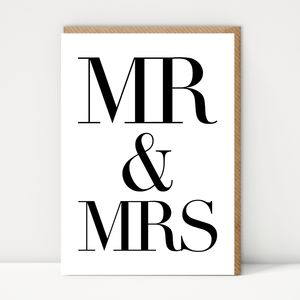 Mr And Mrs Wedding Card - wedding, engagement & anniversary cards