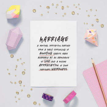 'Marriage' Funny Valentines Anniversary Card