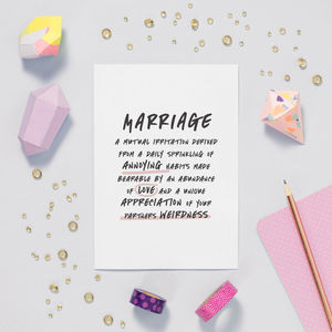 'Marriage' Funny Valentines Anniversary Card - shop by category