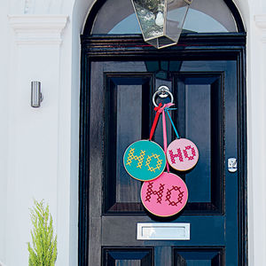 'Ho Ho Ho' Large Embroidered Door Hanging Hoops - christmas home accessories