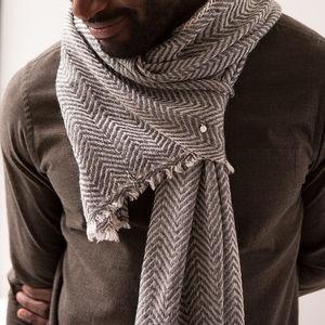 Personalised Cashmere Mix Herringbone Scarf - gifts for him
