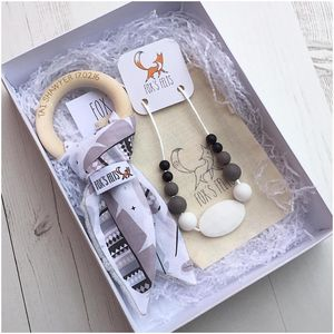 Mumma And Baby Feathers Teething Gift Set
