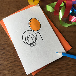 'Birthday Balloon' Letterpress Card