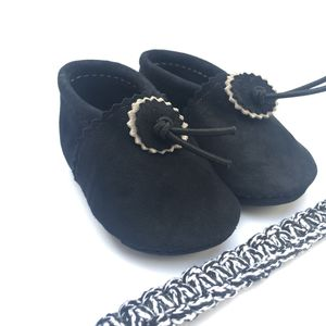Noir Suede Baby Booties Black
