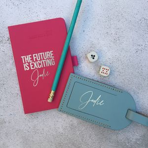 Personalised 2019 Future Diary And Luggage Tag