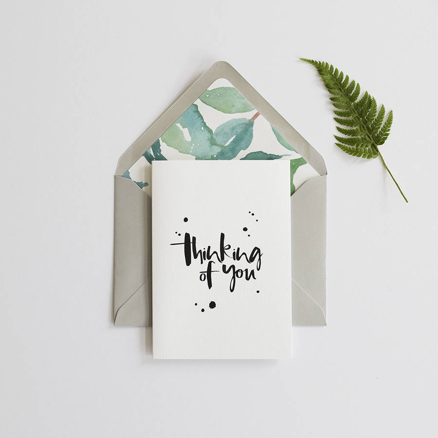 'Thinking Of You' Card And Lined Envelope