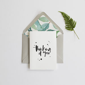 'Thinking Of You' Card And Lined Envelope - get well soon cards