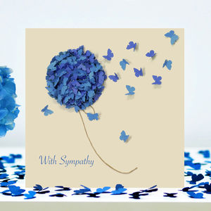 With Sympathy Blue Hydrangea Butterfly Card - shop by category
