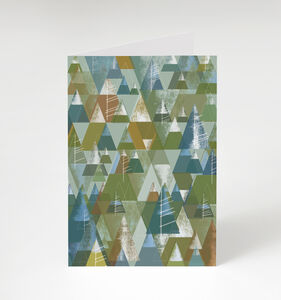 Geometric Tree Pattern Greetings Card