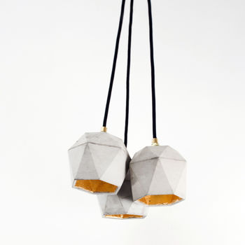 Set Of Three Handmade Concrete Pendant Lights