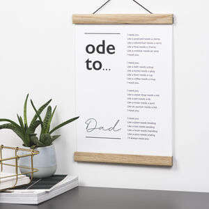 Ode To Dad Poem Print