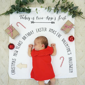 Personalised Seasonal Baby Milestone Blanket - baby's room