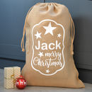 Personalised Star Merry Christmas Hessian Sack