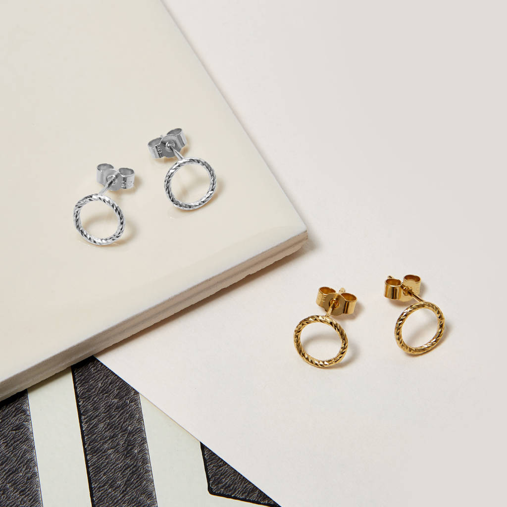Sterling Silver Faceted Circle Stud Earrings