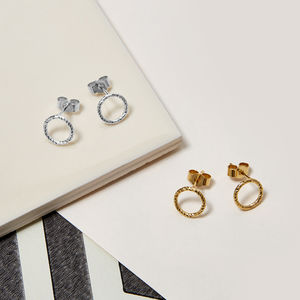 Sterling Silver Faceted Circle Stud Earrings - earrings