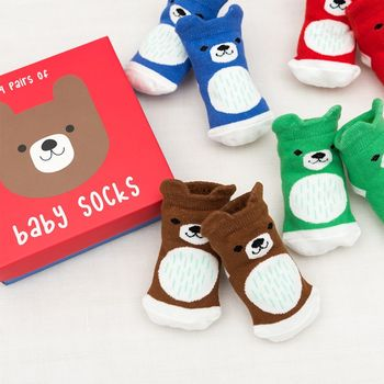 Set Of Four Pairs Of Newborn Baby Socks Bear