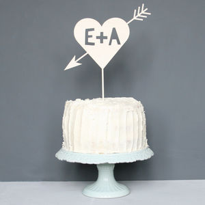 Personalised Cupids Initial Cake Topper - table decorations
