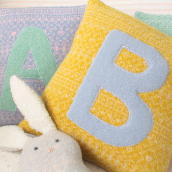 personalised baby nursery knitted cushion