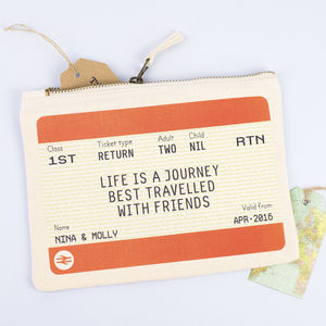 Train Ticket Personalised Friendship Make Up Bag - gifts for friends