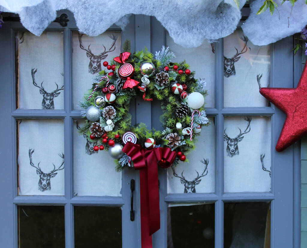 Everlasting Christmas Candy Cane Wreath By Objet Dahlia Notonthehighstreet Com