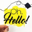 Oh hello handmade cross stitch housewarming gift yellow fabric black floss