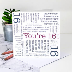 16th Birthday Card 'You're 16!' Quotes