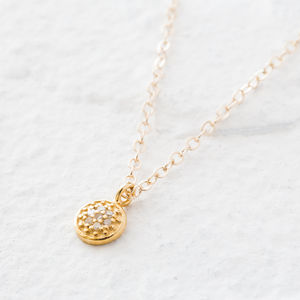 Pave Diamond And Gold Tiny Disc Necklace