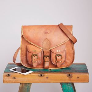 Personalised Leather Satchel Style Saddle Bag - satchels
