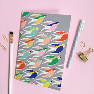Bird Printed Notebook, Gift For Her - notebooks & journals