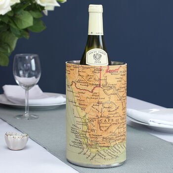 Personalised Map Leather Wine Cooler