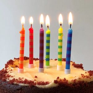 Rainbow Cake Candles: Pack Of 24
