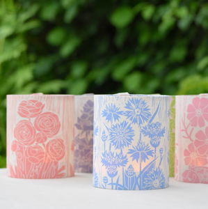 Summer Flowers Lantern Block Printed By Hand - table & floor lamps