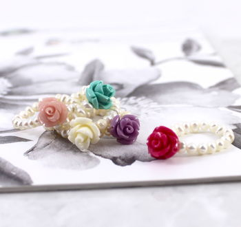 Mother Of Pearl Stacking Rose Ring