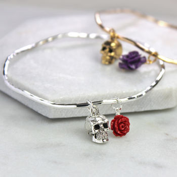 silver skull bangle with red rose