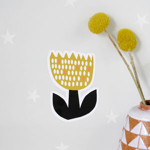 Small Yellow Tulip Wall Sticker - wall stickers