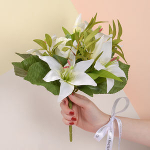 Faux Tiger Lily Bouquet With Personalised Ribbon - room decorations