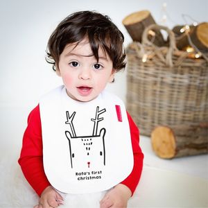 Baby's First Christmas Nordic Deer Bib - baby's first christmas