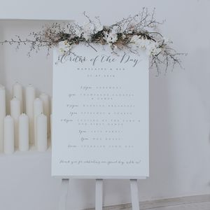 Bliss Grey Order Of The Day Sign - outdoor wedding signs