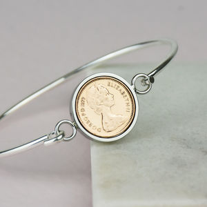 Halfpenny Year Coin Bangle Bracelet 1971 To 1984 - bracelets & bangles