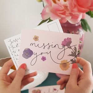 'Missing You' Floral Friendship Postcard