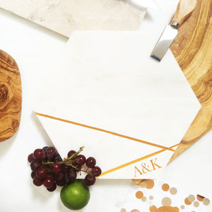 Marble Hexagonal Cheese Board - personalised wedding gifts