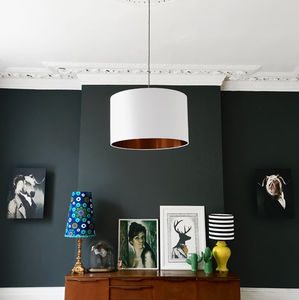 Crisp White Cotton Lampshade With Metallic Linings