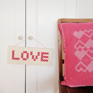 'Love' Cross Stitch Board Wall Art - posters & prints